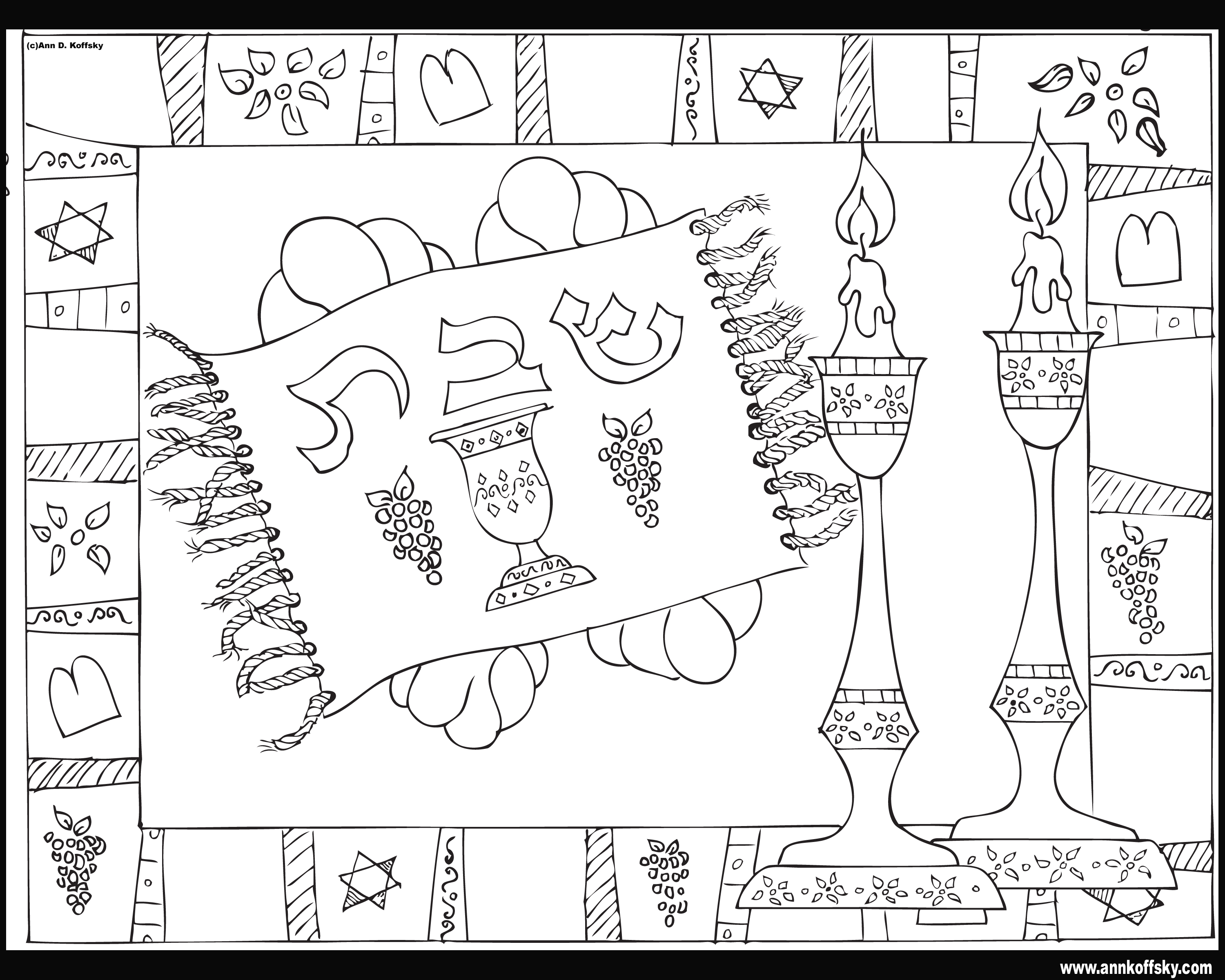 shabbat coloring pages Shabbat Coloring Page shabbat coloring pages