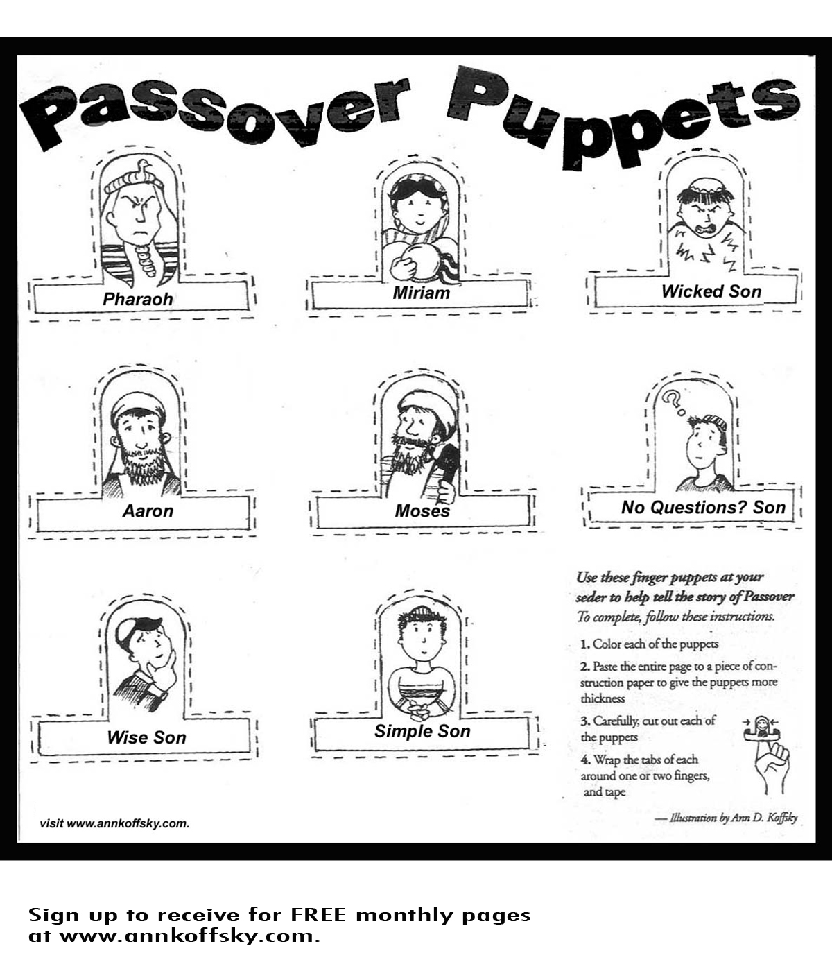 passover finger puppets - Passover Coloring Pages Printable