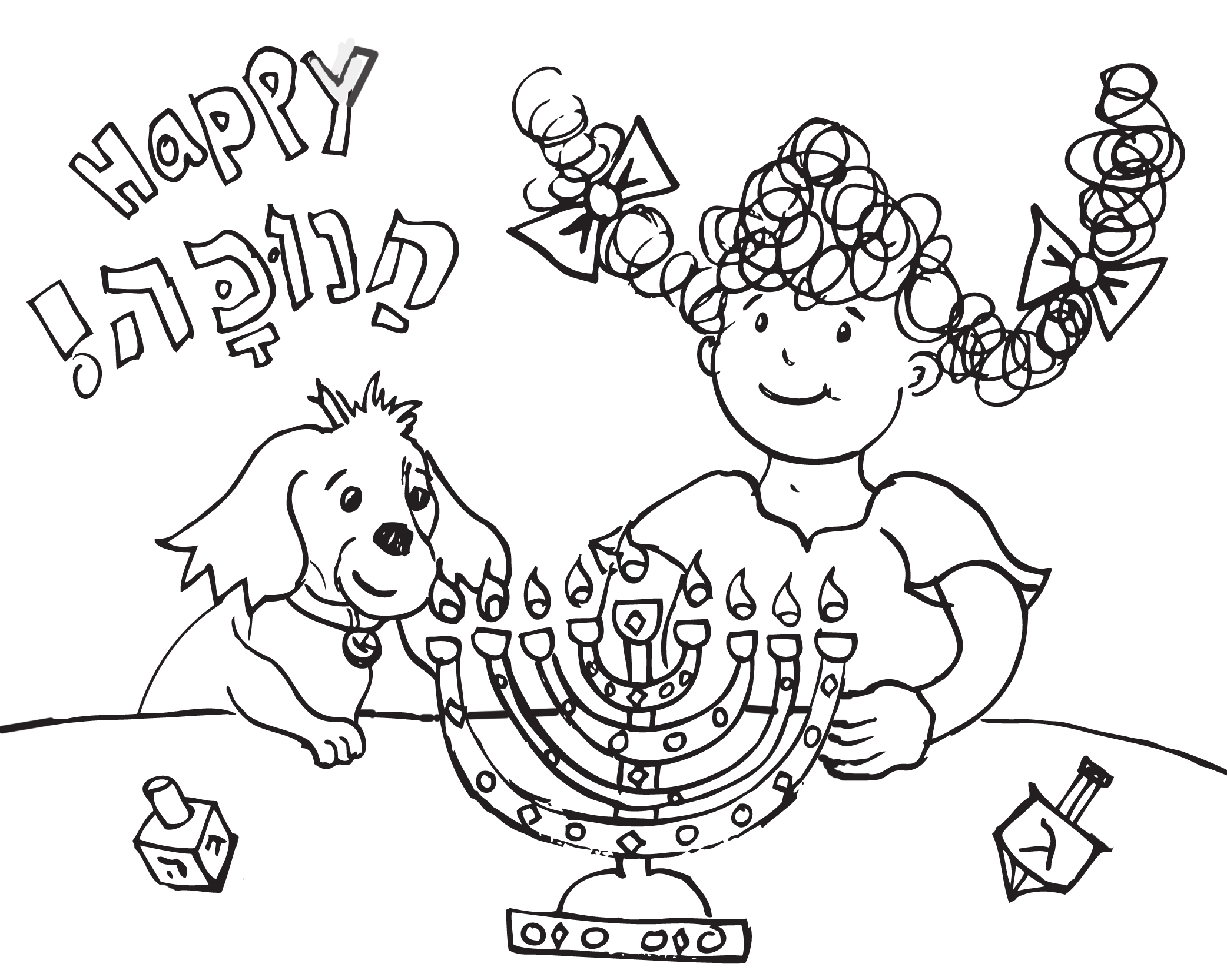 Hanukkah coloring with Kayla and