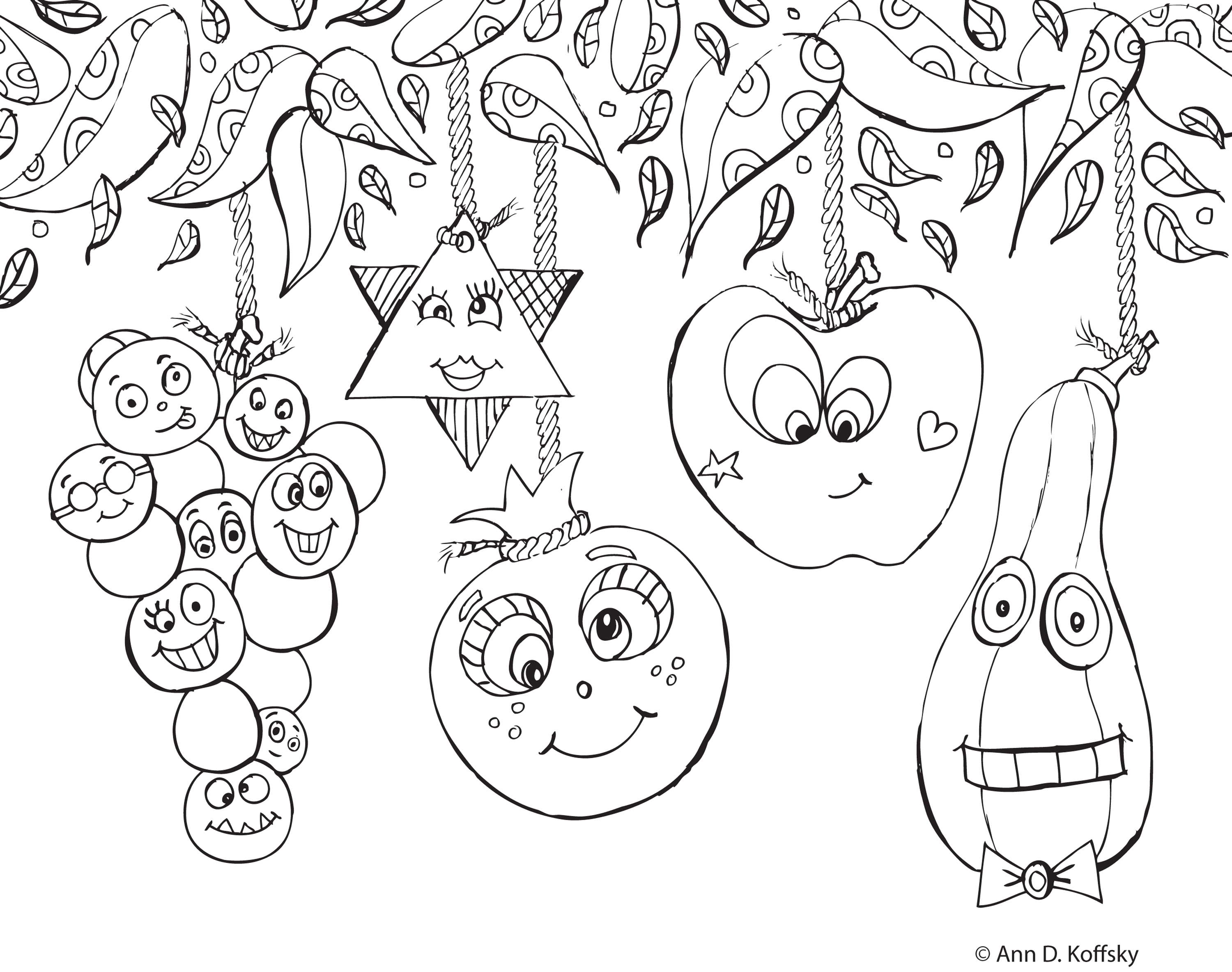 Succot faces coloring page