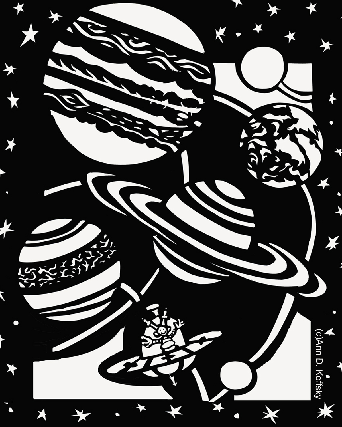 Outer Space Coloring Page | Ann D. Koffsky