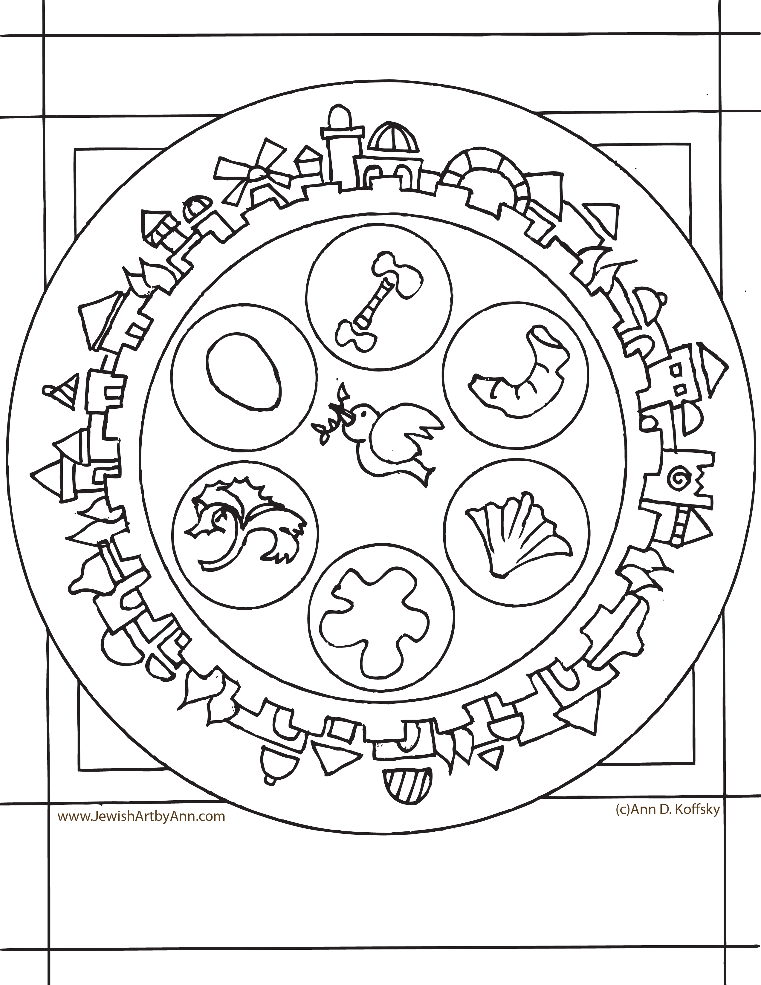 Passover Coloring Page | Ann D. Koffsky